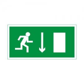 Znak 11 Kierunek drogi ewakuacyjnej dół 300x150 PF