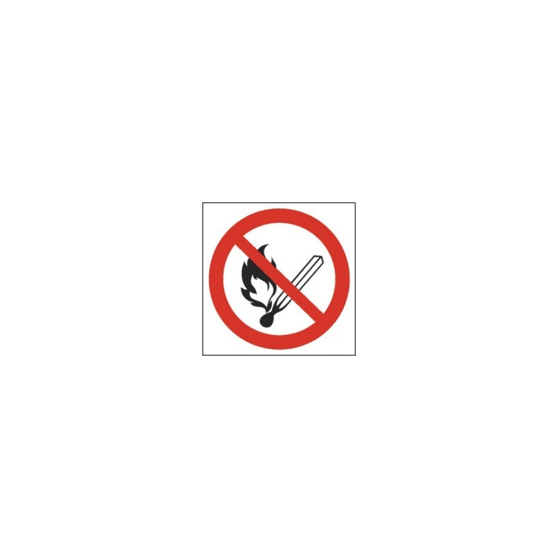 Znak Zakaz używania ognia 150x150 PB
