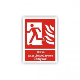 Znak Drzwi ppoż Zamykać! lewe 150x200 FB