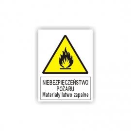 Znak Materiały Łatwopalne 225x275 PB