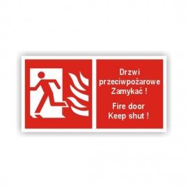 Znak 12 Drzwi przeciwpożarowe Zamykać L 200x100 PB