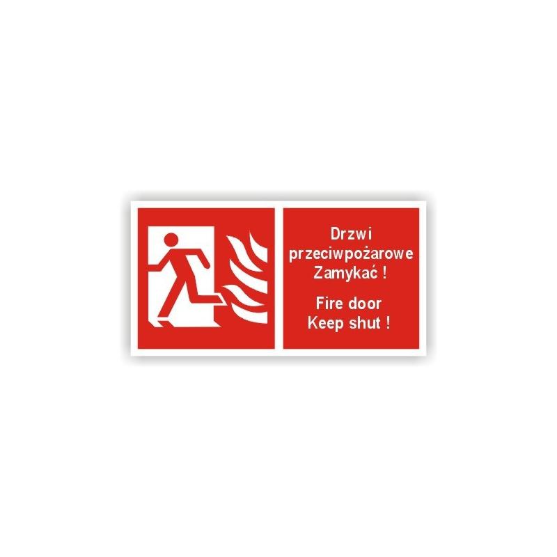 Znak Drzwi przeciwpożarowe Zamykać Lewe 200x100 PB