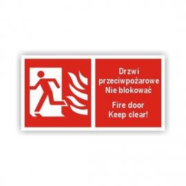 Znak Drzwi ppoż. Nie blokować Lewe 200x100 PB