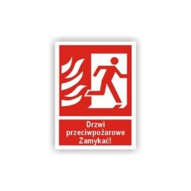 Znak 12 Drzwi ppoż Zamykać! prawe 150x200 FB