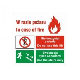 Znak W razie pożaru 150x150 PF