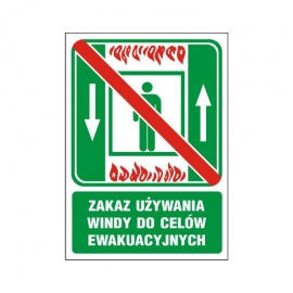 Znak 12 Zakaz używania windy do ewak. 150x200 PF