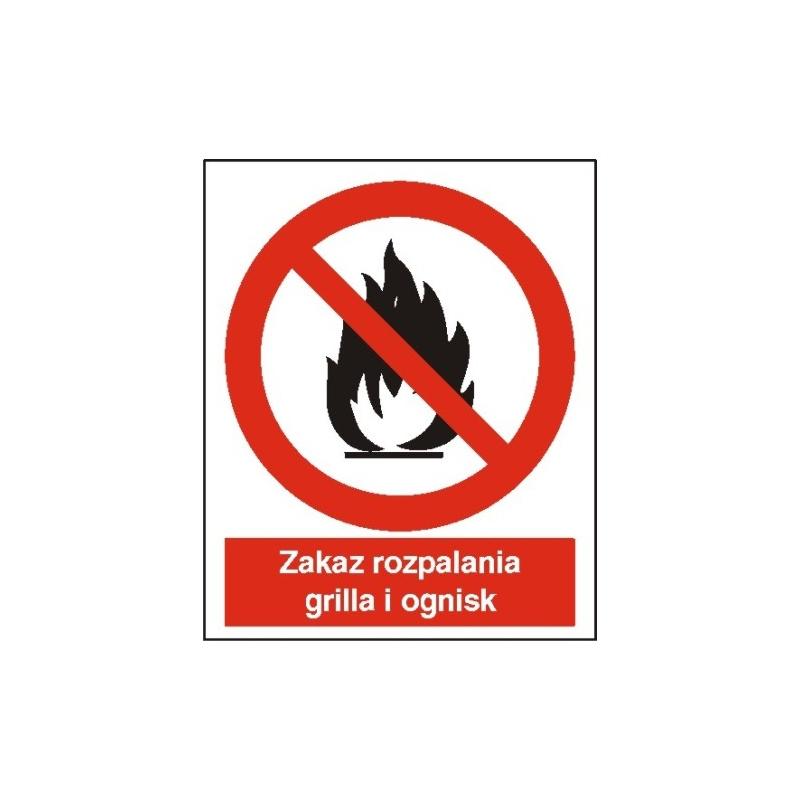 Znak Zakaz rozpalania grila i ognisk 225x275 PB