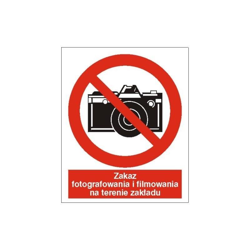 Znak Zakaz fotografowania i filmowania 225x275 PB