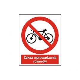 Znak 14 Zakaz wprowadzania rowerów 225x275 PB