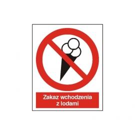 Znak Zakaz wchodzenia z lodami 225x275 PB