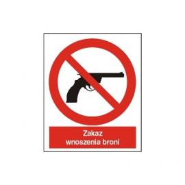 Znak Zakaz wnoszenia broni 225x275 PB