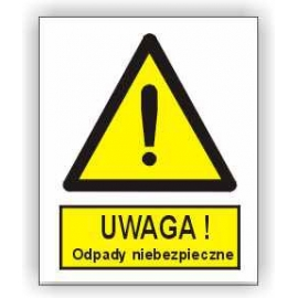 Znak 15 Uwaga odpady niebezpieczne 225x275 PB
