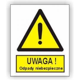 Znak Uwaga odpady niebezpieczne 225x275 PB
