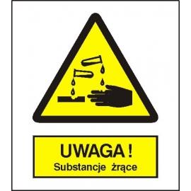 Znak 15 Uwaga Substancje Żrące 225x275 PB