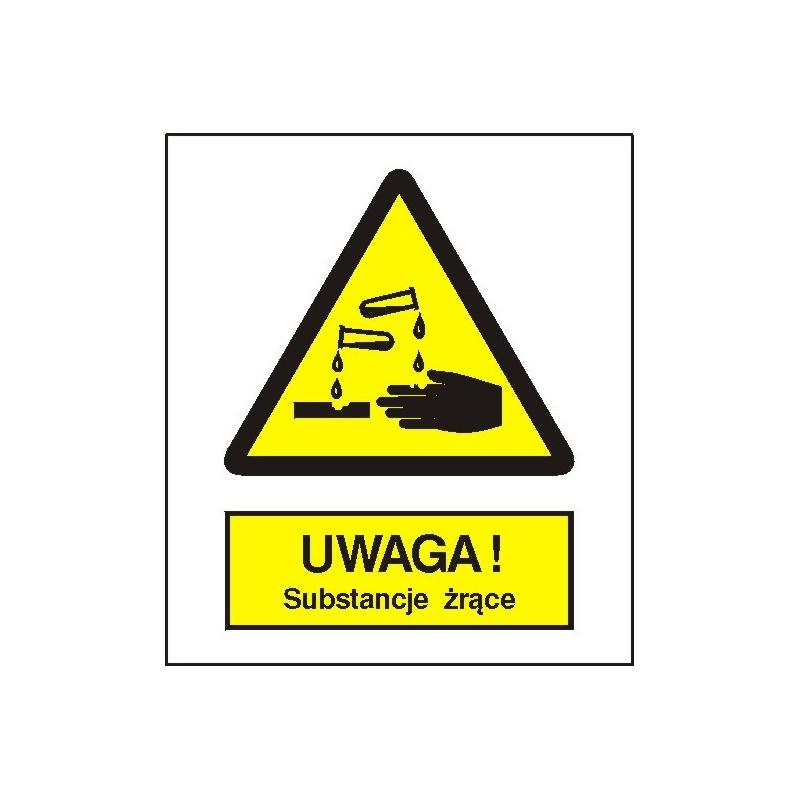Znak Uwaga Substancje Żrące 225x275 PB