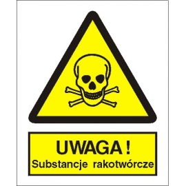 Znak 15 Uwaga substancje rakotwórcze 225x275 PB
