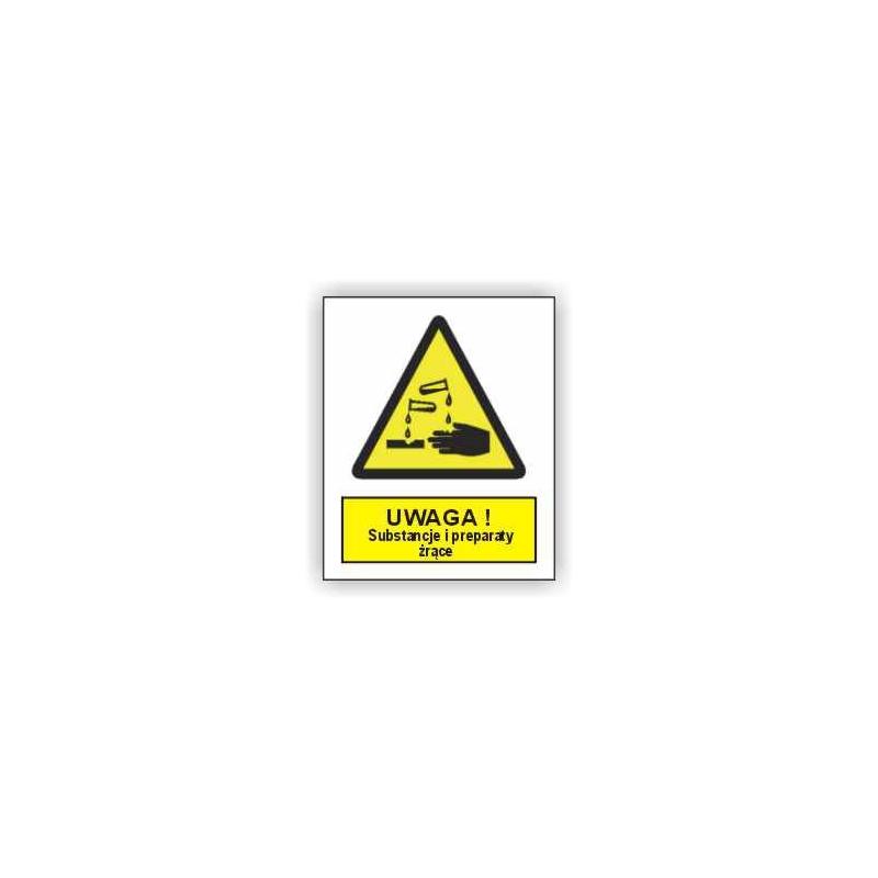 Znak Uwaga substancje i preparaty żrące 225x275 PB