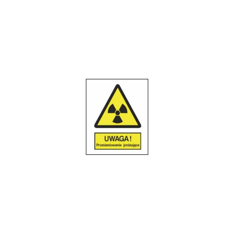 Znak Uwaga Promieniowanie jonizujące 225x275 PB