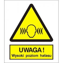 Znak Uwaga wysoki poziom hałasu 225x275 PB