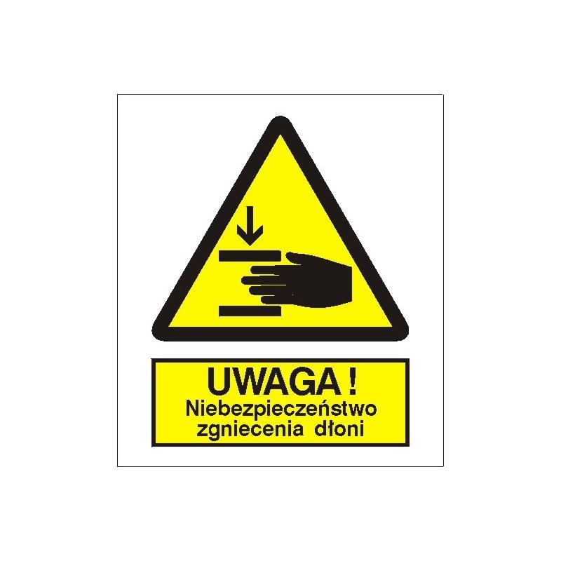 Znak Niebezpieczeństwo zgniecenia dłoni 225x275 PB