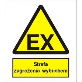 Znak Uwaga Strefa zagrożenia wybuchem 225x275 PB