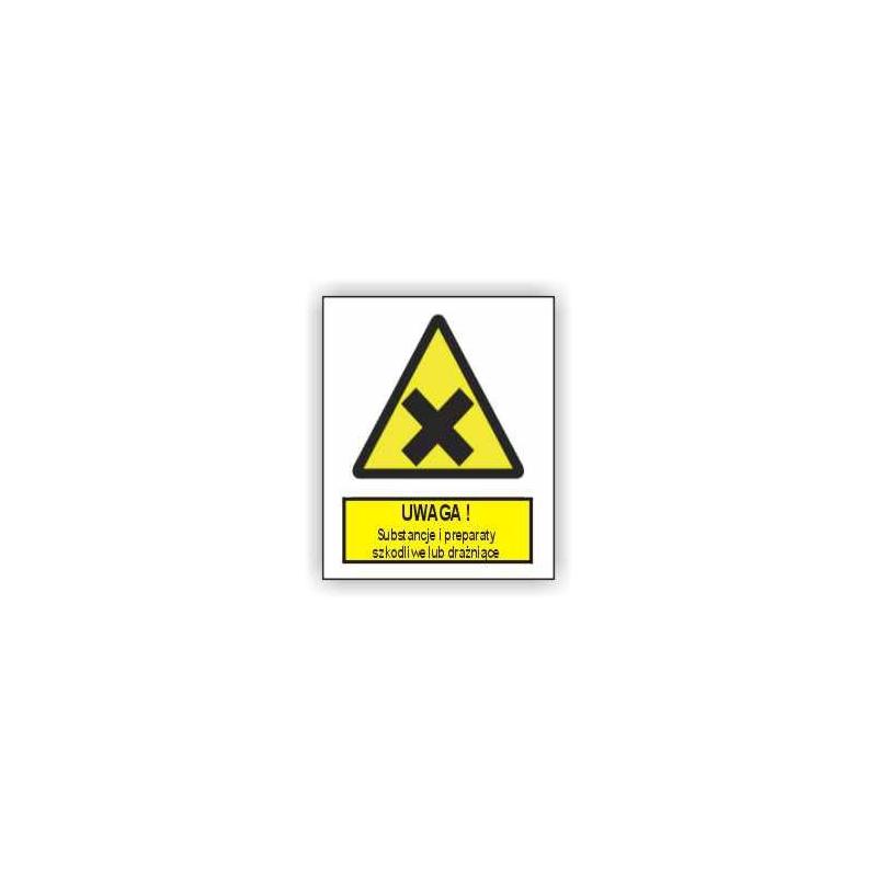 Znak Uwaga substancje i preparaty szkodiwe lub drażniące 225x275 PB