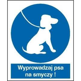 Znak 16 Nakaz wyprowadzania psa naSmyczy 225x275PB