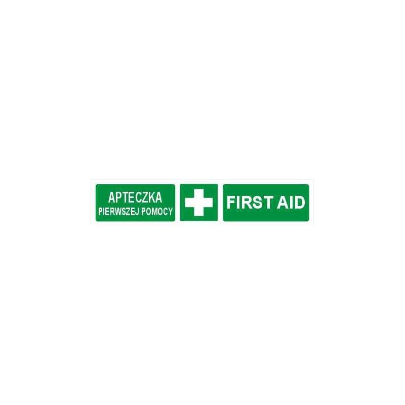 Znak Pierwsza Pomoc First AID (pasek) 200x50 FB