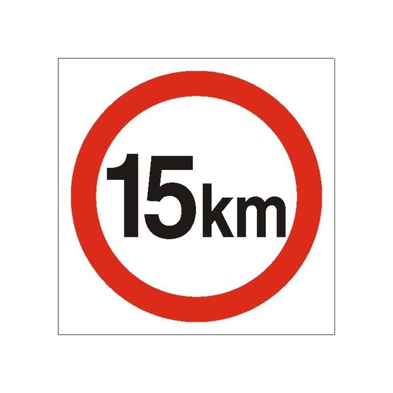 Znak Ograniczenie prędkości 15km PB