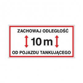 Znak 19 Zachowaj odległość 10m 400x200 PB