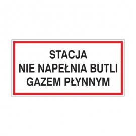 Znak Stacja nie napełnia butli gazem 400x200 PB