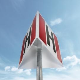 Znak Hydrant przestrzenny 500x500 METALOWY