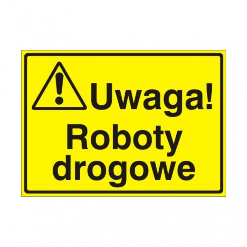 Znak Tablica Uwaga! Roboty drogowe