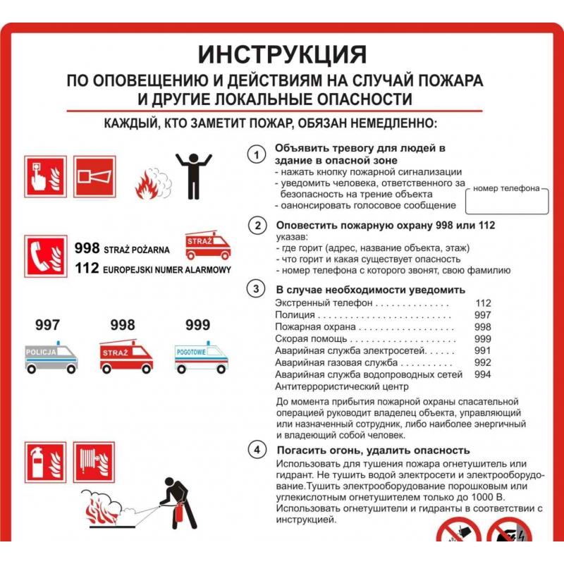 Instrukcja PPOŻ. alarmowania i postępowania po rosyjsku FS RU