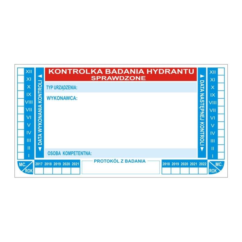 Kontrolka hydrantu bez tabelki papierowa N