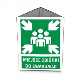 Znak 11 Miejsce zbiórki przestrzenny 360x510 METAL