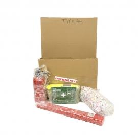 Zestaw AUTO TIP mini gaśnica, apteczka, trójkąt, kamiezlka, rękawice