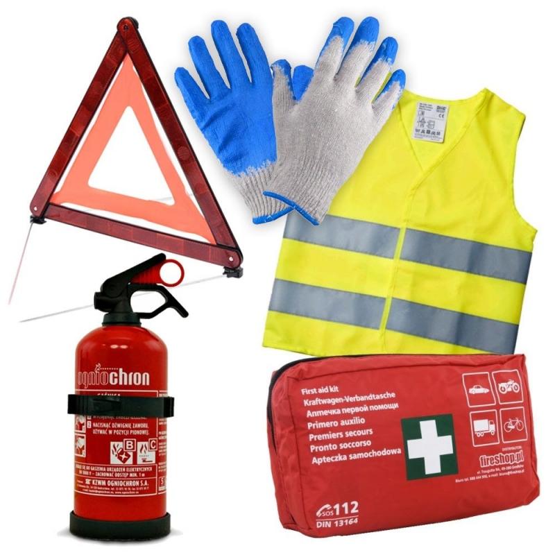 Zestaw AUTO DIN gaśnica, apteczka DIN, kamizelka, trójkąt, rękawice