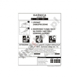 Etykieta gaśnicy GWP  -6x   AB GZ