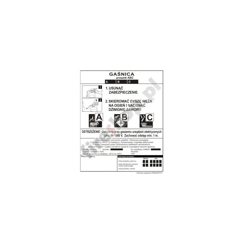 Etykieta gaśnicy GS-  5x B GZ