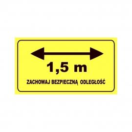 Etykieta naklejka ZACHOWAJ BEZPIECZNĄ ODLEGŁOŚĆ (strzałka) 1,5 m