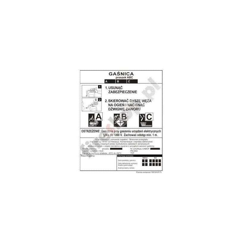 Etykieta gaśnicy GP- 9x ABC BP 1KD