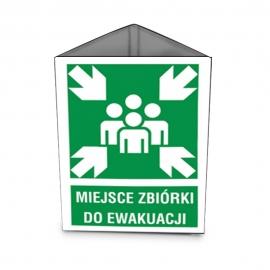 Znak 11 Miejsce zbiórki przestrzenny 220x300 METAL