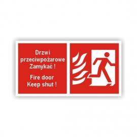 Znak Drzwi przeciwpożarowe Zamykać Prawe 200x100 PB