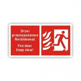 Znak Drzwi ppoż. Nie blokować Prawe 200x100 PB