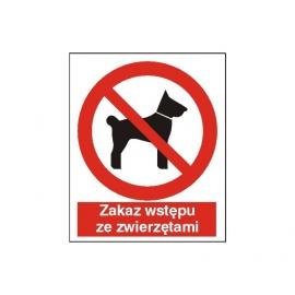 Znak Zakaz wstępu ze zwierzętami 225x275 PB