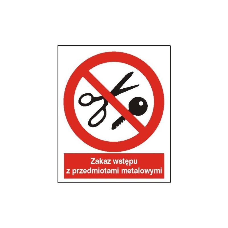 Znak Zakaz wstępu z przedmiotami metalowymi 225x275 PB