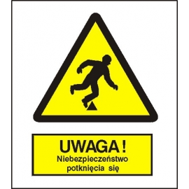 Znak Uwaga niebezpieczeństo potknięcia się 225x275 PB