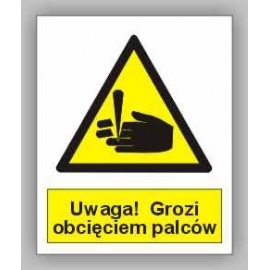 Znak Uwaga! Grozi obcięciem palców PB