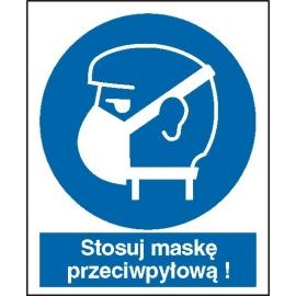 Znak Stosuj maskę przeciwpyłową 225x275 PB